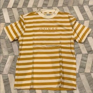 Guess yellow and white striped t shirt
